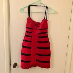 BCBGMaxAzria | Stretch Satin Red and Black Dress